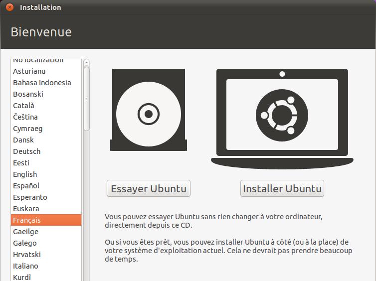 Premier accueil d'Ubuntu