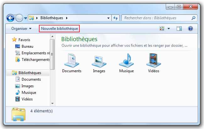 Bouton Nouvelle bibliotheque