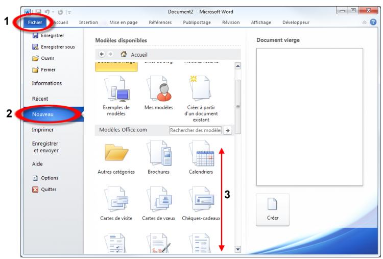 Création d'un document à partir d'un modèle Office.com