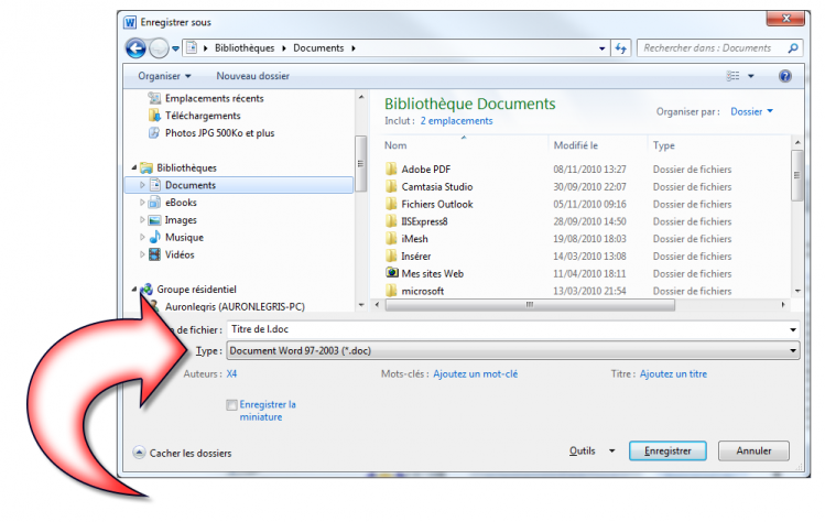 Le document va être sauvegardé au format Word 97-2003
