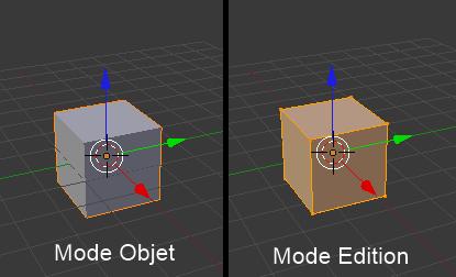 Object Mode à gauche et Edit Mode à droite