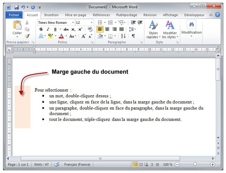 La marge gauche du document