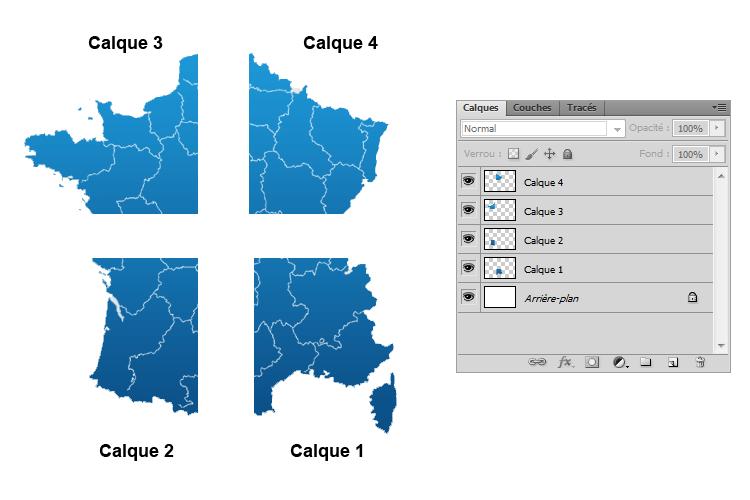 Fenêtre de calques + France découpée