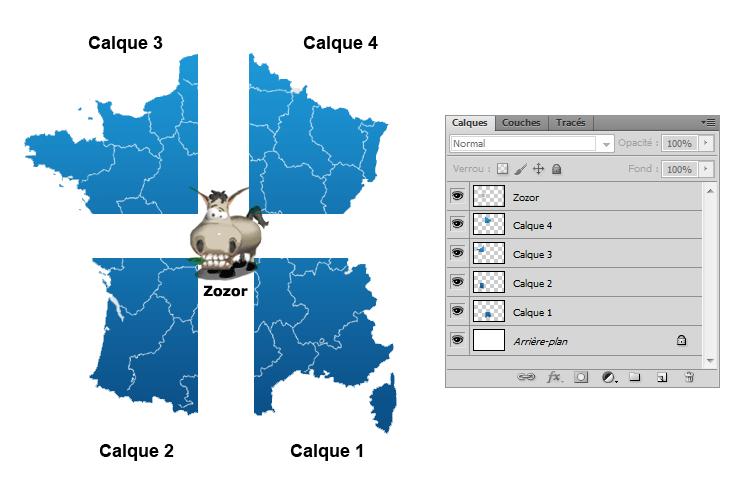 Fenêtre de calques + France découpée + Zozor