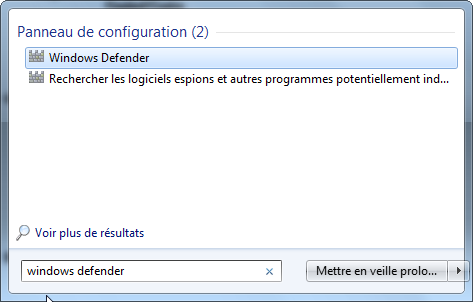 Ouvrir Windows Defender