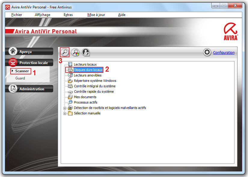 Lancer une analyse antivirus