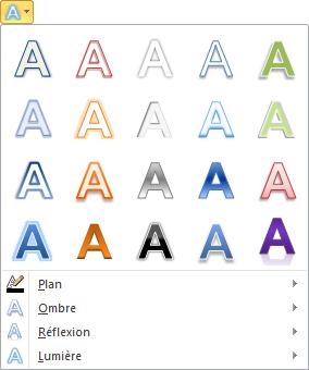 Les effets typographiques de l'icône Effets de texte