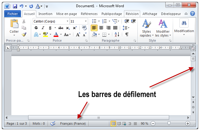 Les barres de défilement de Word