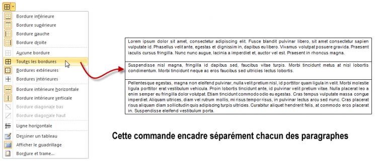 Définition de la bordure d'un ou de plusieurs paragraphes