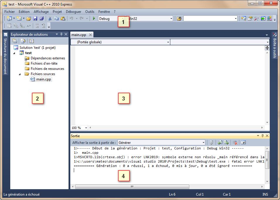 Fenêtre de Visual C++
