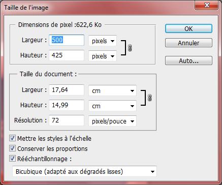 Taille de l'image - Paramétrages