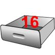 Un tiroir dans la mémoire de l'ordinateur contenant le chiffre 16