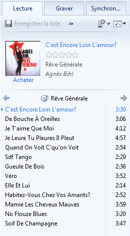 Liste lecture CD