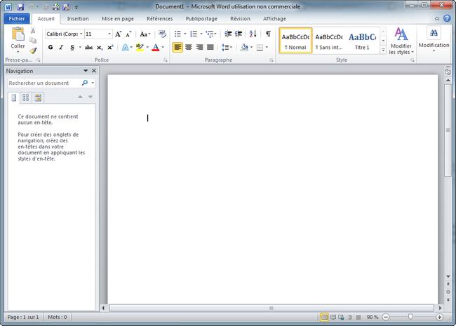 Un programme GUI (graphique) : Word