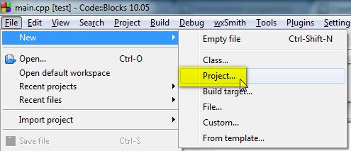 Nouveau projet Code::Blocks