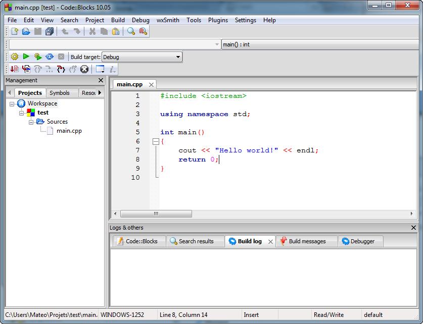 Premier programme dans Code::Blocks
