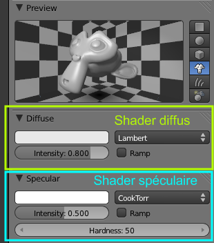 Les shaders Diffuse et Specular