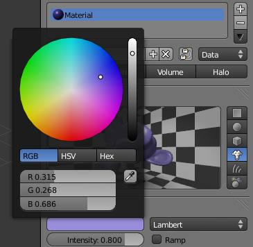 Modifier la couleur de son matériau avec Diffuse