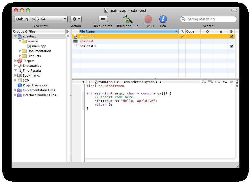 Fenêtre principale de  Xcode