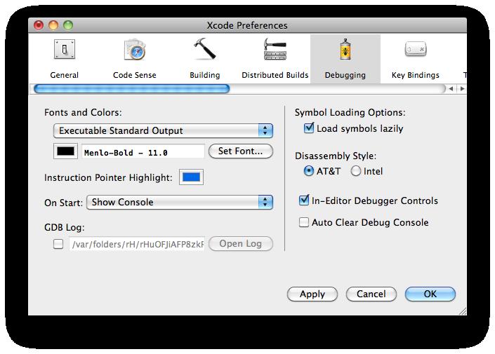 Options de Xcode
