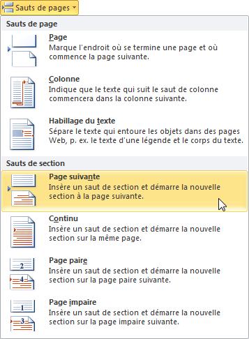 Les commandes disponibles sous l'icône Sauts de pages