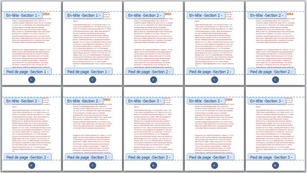 Toutes les pages ont été numérotées
