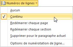 Ce menu permet de numéroter les lignes du document