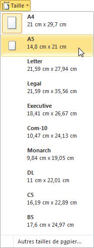 Cette icône permet de choisir la taille du document