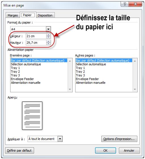 La taille du papier peut être personnalisée