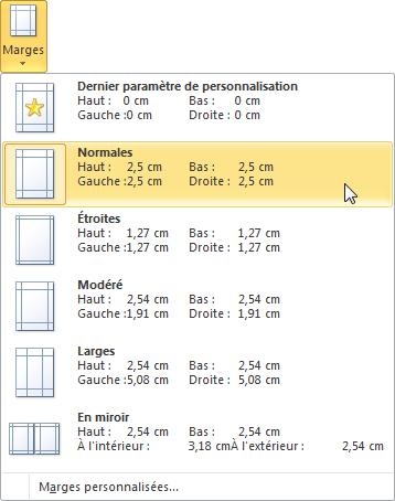 Définition des marges du document