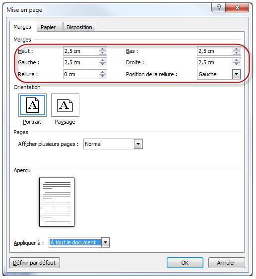Personnalisation des marges du document