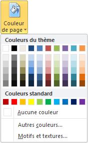 Cette icône vous permet de choisir la couleur d'arrière-plan des pages
