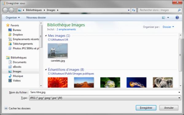 Seules les images au format JPEG sont affichées