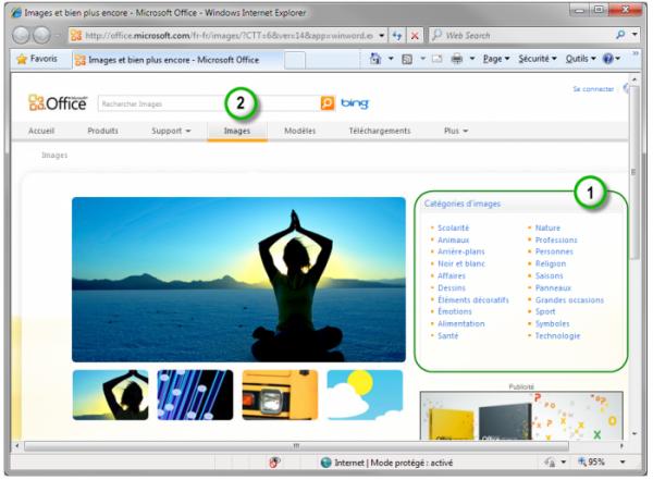 Recherche d'images sur Office.com