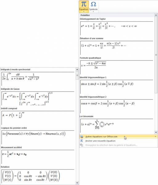 D'autres équations prédéfinies sont disponibles sur Office.com