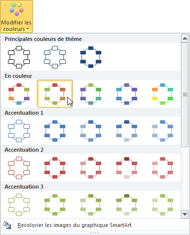 Choix d'un autre jeu de couleurs pour le graphique SmartArt