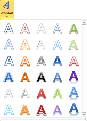 Cette icône permet d'insérer un effet WordArt dans le document