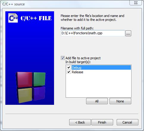 Sélection des options pour le fichier source