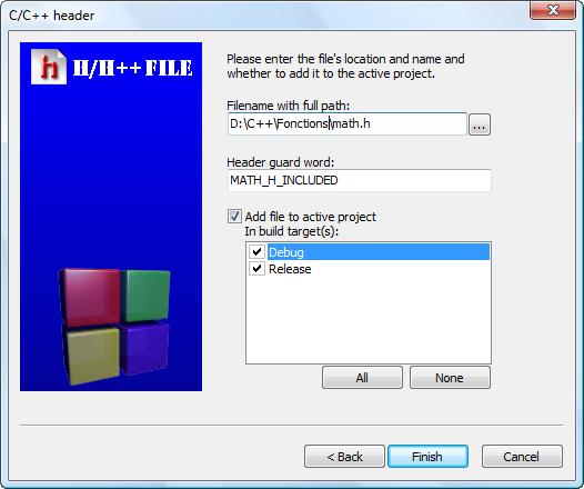 Sélection des options pour le fichier d'en-tête