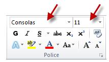 Modification de la police et de la taille des caractères