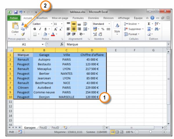 Sélection et copie des données dans Excel