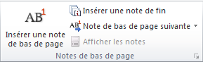 Le groupe Notes de bas de page