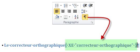 L'icône Afficher tout révèle l'entrée d'index