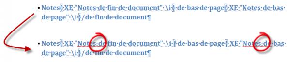 Le caractère « : » permet de définir deux niveaux dans les entrées d'index