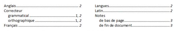 Les entrées d'index sont réparties selon deux niveaux
