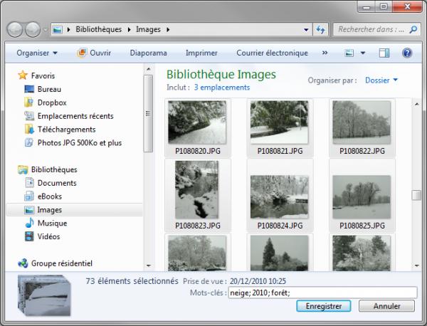 Affectation de mots-clés aux images sélectionnées