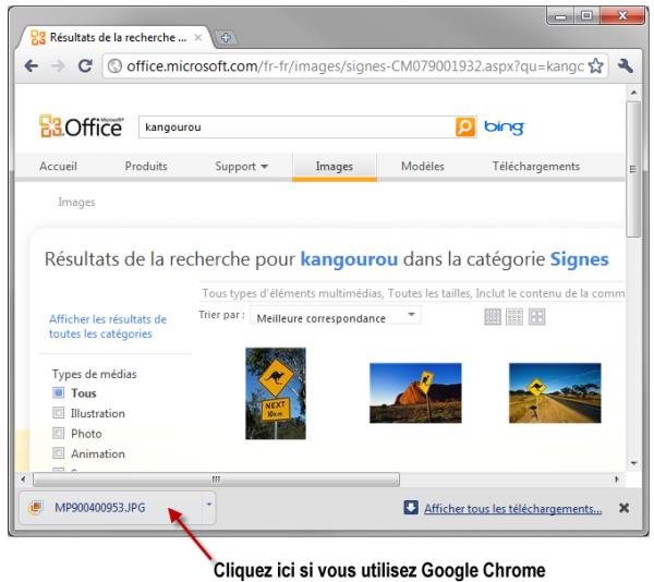 Une technique particulière doit être utilisée dans Google Chrome