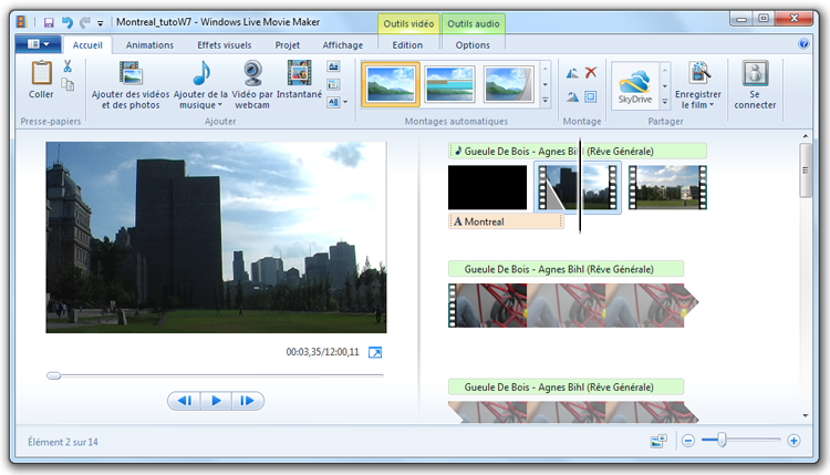 Interface Movie Maker