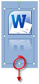L'icône de Word et son reflet