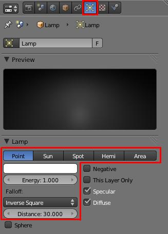 Choisir sa lampe dans le menu Object Data
